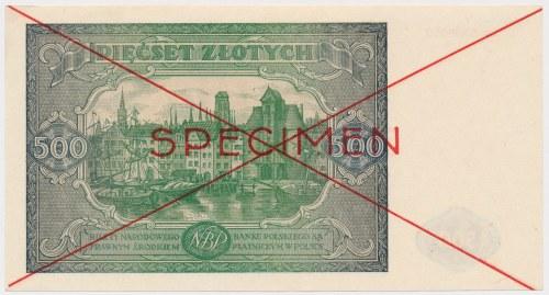 500 złotych 1946 - SPECIMEN - Dz