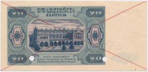20 złotych 1948 - SPECIMEN - A - perforacja