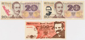 Solidarność, 100 złotych 1983 Lech Wałęsa i 2x20 złotych 1982 z nadrukami (3szt)