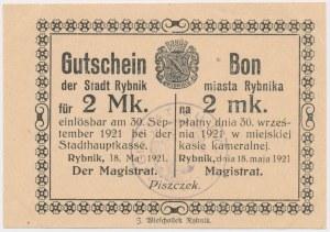 Rybnik, 2 marki 1921 - bez numeratora