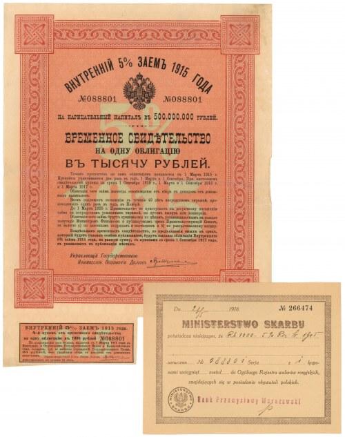 Rosja, Obligacja na 1.000 rubli 1915