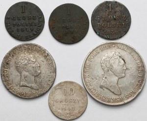 Zabory, od 5 złotych po 1 grosz 1816-1840 (6szt)