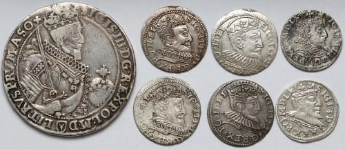 Zygmunt III Waza, TALAR Bydgoszcz 1630 i trojaki (7szt)