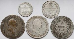 Zabory, od złotówki do 5 złotych 1817-1851, w tym Powstanie (5szt)