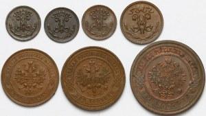 Rosja, od 1/4 do 3 kopiejek 1897-1916 (7szt)