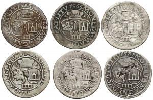 Zygmunt II August, Czworaki Wilno 1665-68 - rzadkie odmiany (6szt)