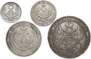 Zabory, dwunominałowe 50 groszy - 10 złotych 1833-1846 (4szt)