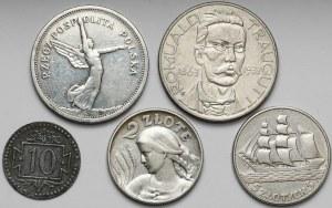 II RP zestaw monet + 10 fenigów 1920 (5szt)