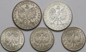 Głowa Kobiety 5 i 10 złotych 1932-34 (5szt)