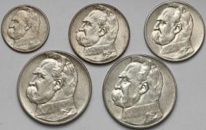 Piłsudski, 2, 5 i 10 złotych 1934-1937 (5szt)