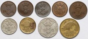Gdańsk, 1 - 10 fenigów 1923-32 (9szt)