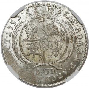August III Sas, Dwuzłotówka Lipsk 1753 - litery EC - mennicza