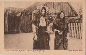 POLSKA. Polnische Mädchen beim Kirchgang, wyd. Haeckel, Berlin, ok. 1919; cz.-b