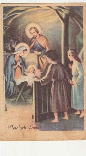 """POLSKA. Wesołych Świąt, wyd. Art. """"Ega"""" Gardyła Eug. Kraków, przed 1939; kolor."""