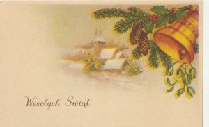 POLSKA. Wesołych Świąt, wyd. ok. 1959; kolor., stan bdb, bez śladów obiegu