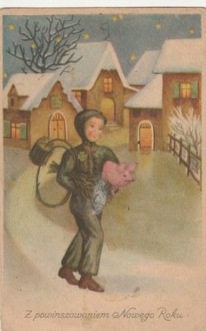 POLSKA. Z powinszowaniem Nowego Roku, wyd. przed 1989; kolor., stan db