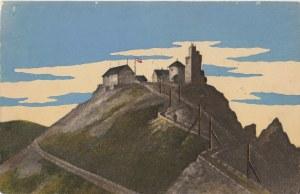 KARPACZ. Widok na schronisko i kaplicę na Śnieżce, wyd. H.R.K., ok. 1921; kolor., stan db
