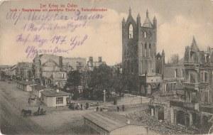 EŁK. Der Krieg im Osten, Lyck -Hauptstrasse mit zerstörter Kirche u
