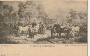 LWÓW. Reprodukcja obrazu Juliusza Kossaka, Stadnina hetmańska, wyd. Nakł. S. W