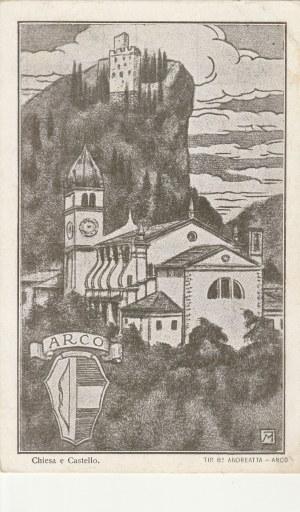 ARCO. Chiesa e Castello / ANDREATTA - ARCO, wyd. przed 1939; cz.-b., stan dobry