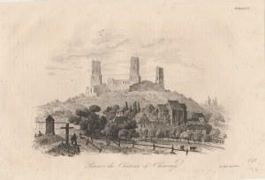 CHĘCINY. Widok na ruiny zamku w Chęcinach, druk. Leclere (sygn. na płycie Impr