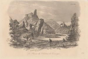 CZORSZTYN. Widok na ruiny zamku w Czorsztynie, druk. Leclere, pochodzi z