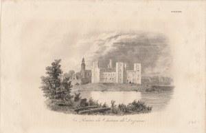 DRZEWICA. Widok na ruiny zamku w Drzewicy, druk. Leclere, pochodzi z: dzieła