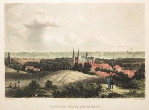 GDAŃSK, OLIWA. Widok ogólny na zespół klasztorny w Oliwie, ryt. H. Winkles, rys