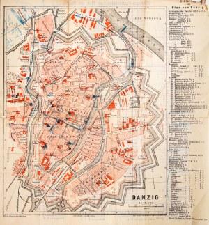GDAŃSK. Plan Gdańska ok. 1880 r.; na verso wykaz ulic, z prawej str