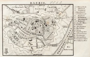 GDAŃSK. Plan Gdańska w 1863 r., pochodzi z: Baedeker, Karl, L'Allemagne...