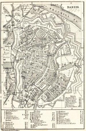 GDAŃSK. Plan Gdańska w 1874 r., pochodzi z: Baedeker, Karl, Mittel- und Nord