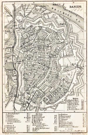GDAŃSK. Plan Gdańska w 1878 r., pochodzi z: Baedeker, Karl, Mittel- und Nord