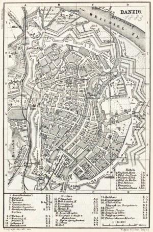 GDAŃSK. Plan Gdańska w 1883 r.; na verso mapka okolic miasta (Sopot, Oliwa