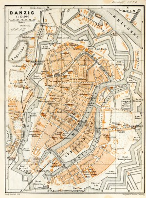 GDAŃSK. Plan Gdańska w 1887 r.; na verso cz.-b. mapka okolic miasta; pochodzi z