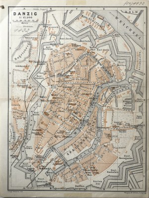 GDAŃSK. Plan Gdańska w 1892 r., pochodzi z: Baedeker, Karl, Mittel- und Nord