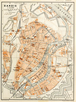 GDAŃSK. Plan Gdańska w 1899 r., pochodzi z: Baedeker, Karl, Mittel- und Nord