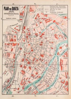 GDAŃSK. Plan Gdańska w 1910 r., wyd. A.W. Kafemann, Gdańsk 1910; chromolit., st