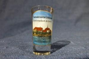 DZIWNÓW. Pokal szklany, widok- kolor; st. bdb, wys.: ok. 60 mm, średnica u góry