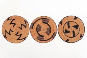 Zestaw 3 talerzyków, (prestige plate), plemię TUTSI, Rwanda, Afryka